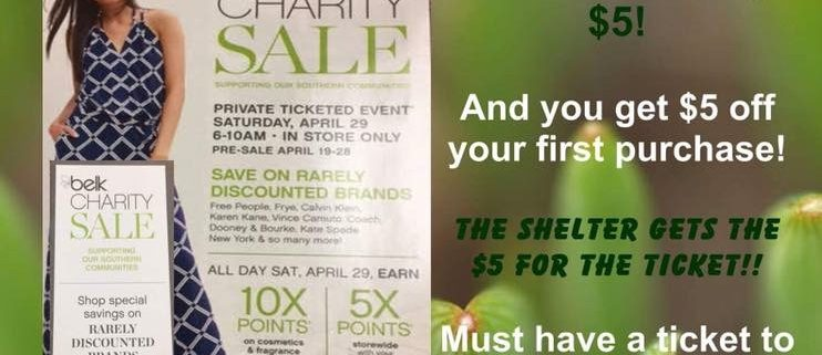 belk charity sale